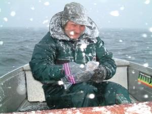 En kall båttur med inslag av snö